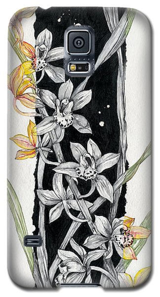 Galaxy S5 Case featuring the painting Flower Orchid 07 Elena Yakubovich by Elena Yakubovich
