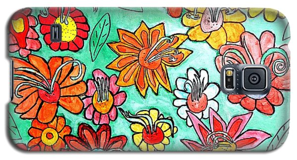 Galaxy S5 Case featuring the painting Flower Power by Artists With Autism Inc