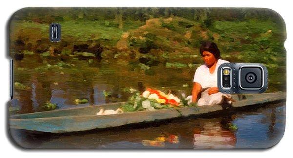 Galaxy S5 Case featuring the digital art Flower Seller Xochimilco by Spyder Webb