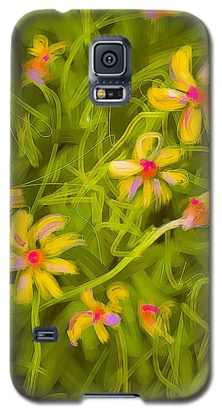 Galaxy S5 Case featuring the painting Flowerfield by Go Van Kampen