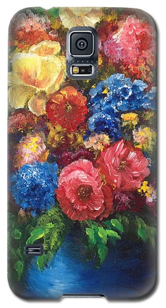 Galaxy S5 Case featuring the painting Flowers by Bozena Zajaczkowska