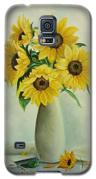 Galaxy S5 Case featuring the painting Flowers For You by Sorin Apostolescu