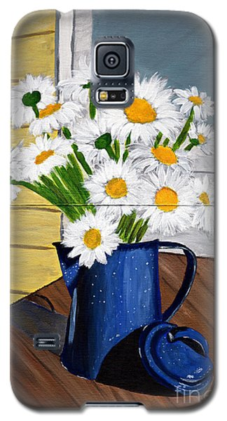 Galaxy S5 Case featuring the painting Flowers In A Teapot by Laura Forde