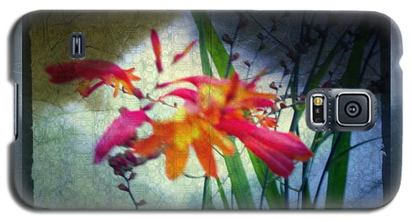 Galaxy S5 Case featuring the digital art Flowers On Parchment by Absinthe Art By Michelle LeAnn Scott