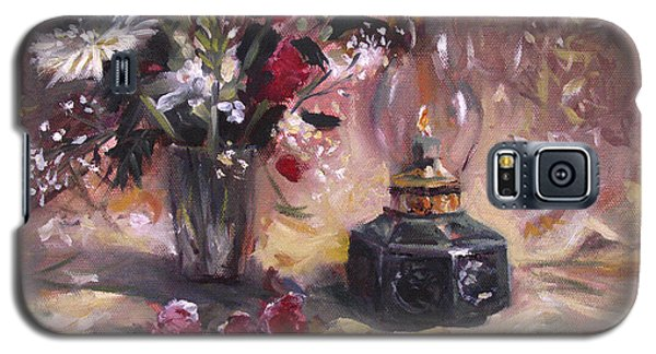 Galaxy S5 Case featuring the painting Flowers With Lantern by Nancy Griswold