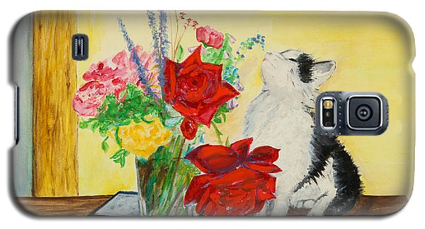 Fluff Smells The Lavender- Painting Galaxy S5 Case by Veronica Rickard