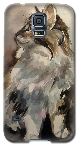 Galaxy S5 Case featuring the painting Fluffy Cat by Pattie Wall