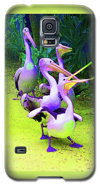 Galaxy S5 Case featuring the photograph Fluorescent Pelicans by Margaret Saheed