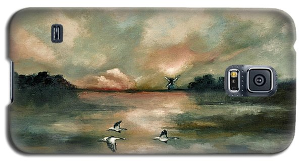 Galaxy S5 Case featuring the painting Flying Geese by Maja Sokolowska