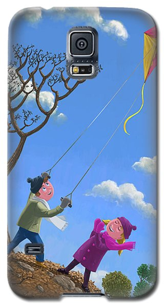 Flying Kite On Windy Day Galaxy S5 Case