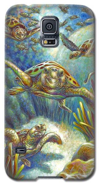 Galaxy S5 Case featuring the painting Flying Loggerhead Turtles by Nancy Tilles
