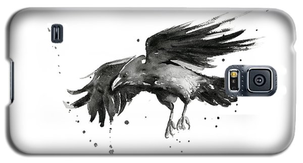 Raven Galaxy S5 Case - Flying Raven Watercolor by Olga Shvartsur