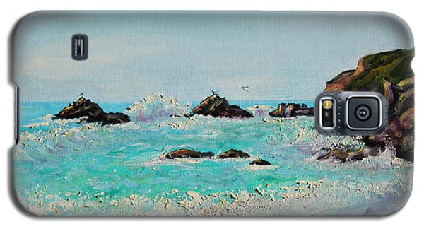 Galaxy S5 Case featuring the painting Foamy Ocean Waves And Sandy Shore by Asha Carolyn Young