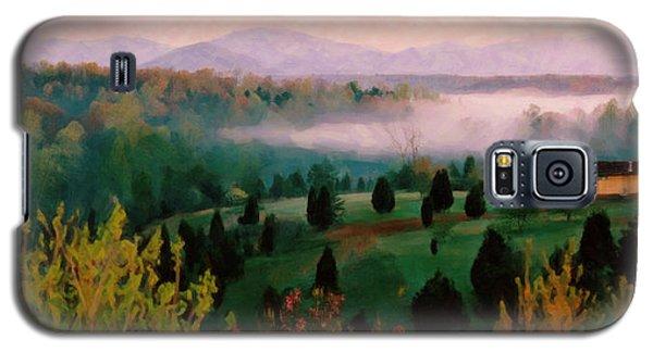 Galaxy S5 Case featuring the digital art Foggy Blue Ridge Morning by Spyder Webb