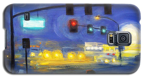 Galaxy S5 Case featuring the painting Foggy Morning Traffic by Cheryl Del Toro