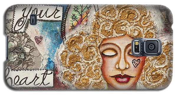 Follow Your Heart Inspirational Mixed Media Folk Art Galaxy S5 Case