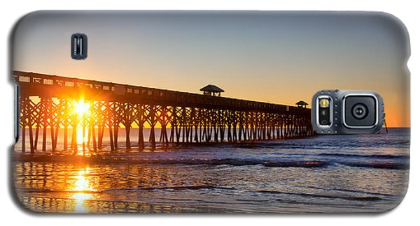 Galaxy S5 Case featuring the photograph Folly Beach Pier At Sunrise by Lynne Jenkins