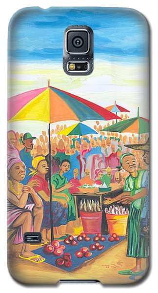 Galaxy S5 Case featuring the painting Food Market In Cameroon by Emmanuel Baliyanga