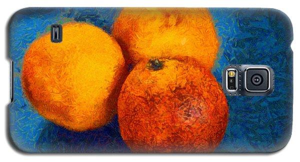 Food Still Life - Three Oranges On Blue - Digital Painting Galaxy S5 Case