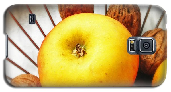 Still Life Galaxy S5 Case - Food Still Life - Yellow Apple And Brown Walnuts - Beautiful Warm Colors by Matthias Hauser