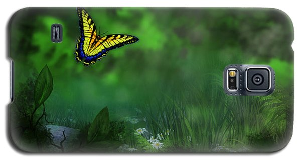 Forest Glade Butterfly Background Galaxy S5 Case