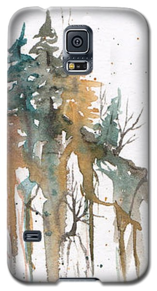 Galaxy S5 Case featuring the painting Forest On A Cliff by Rebecca Davis