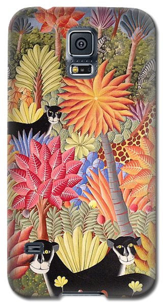 Galaxy S5 Case featuring the painting Forest With  Black Panthers by Haitian artist