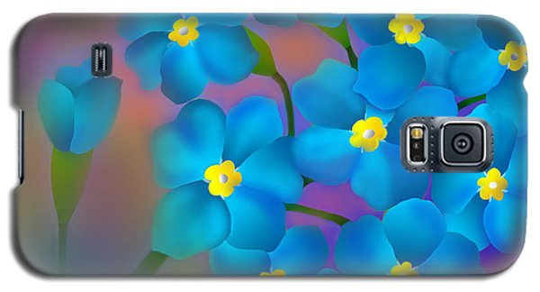 Galaxy S5 Case featuring the digital art Forget- Me -not Flowers by Latha Gokuldas Panicker