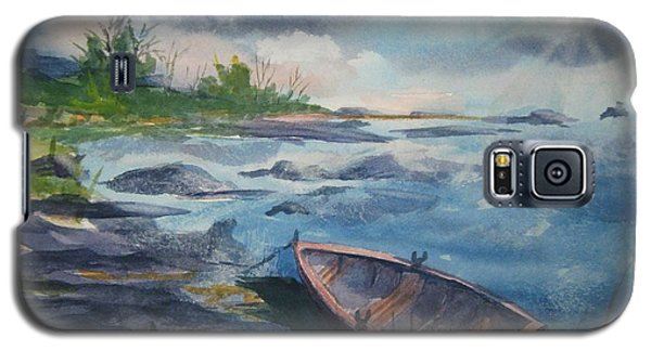 Galaxy S5 Case featuring the painting Forgotten Rowboat by Ellen Levinson