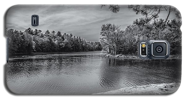 Galaxy S5 Case featuring the photograph Fork In River Bw by Mark Myhaver