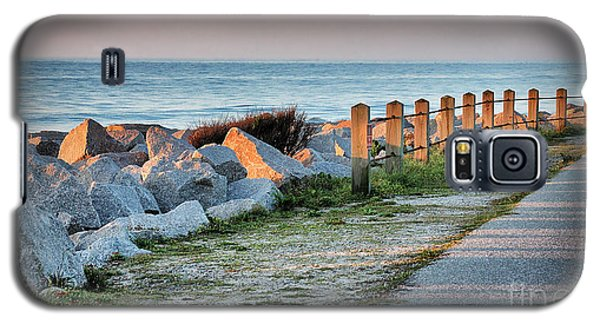Galaxy S5 Case featuring the photograph Fort Fisher Rocks At  Sunrise by Phil Mancuso
