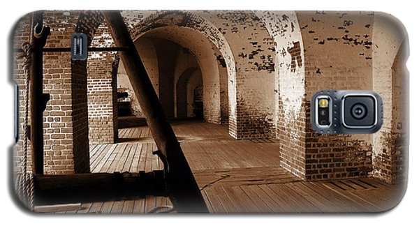 Galaxy S5 Case featuring the photograph Fort Pulaski Arches Sepia by Jacqueline M Lewis