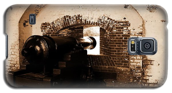 Galaxy S5 Case featuring the photograph Fort Pulaski Canon Sepia by Jacqueline M Lewis