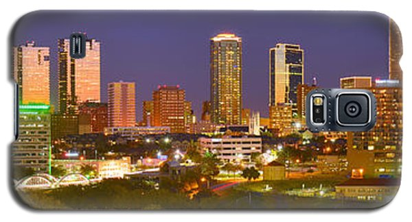 Galaxy S5 Case featuring the photograph Fort Worth Skyline At Night Color Evening Panorama Ft. Worth Texas by Jon Holiday
