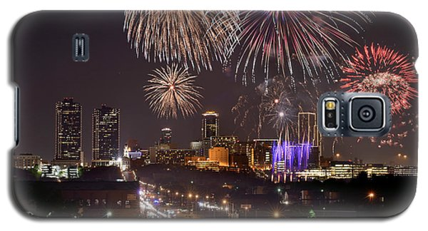 Galaxy S5 Case featuring the photograph Fort Worth Skyline At Night Fireworks Color Evening Ft. Worth Texas by Jon Holiday