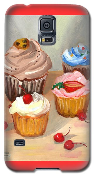 Galaxy S5 Case featuring the painting Four Cupcakes by Susan Thomas