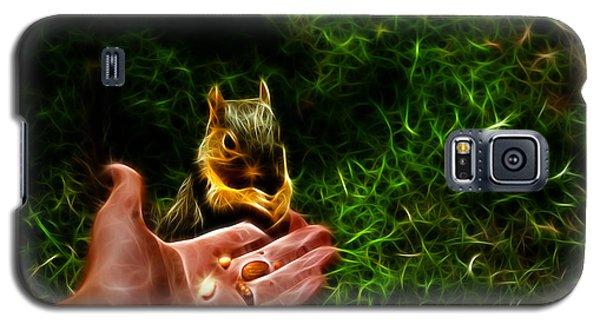 Galaxy S5 Case featuring the digital art Fractal - Feeding My Friend - Robbie The Squirrel by James Ahn