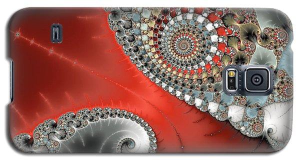 Fractal Spiral Art Red Grey And Light Blue Galaxy S5 Case