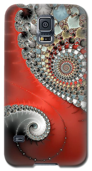 Fractal Spiral Art Red Grey And Light Blue Galaxy S5 Case