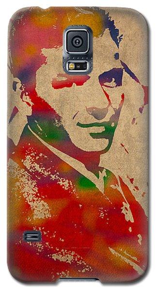Frank Sinatra Watercolor Portrait On Worn Distressed Canvas Galaxy S5 Case