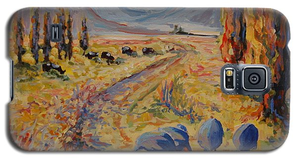 Galaxy S5 Case featuring the painting Free State Landscape With Guinea Fowl by Thomas Bertram POOLE