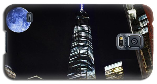 Freedom Tower And Blue Moon Galaxy S5 Case by Natalie Ortiz
