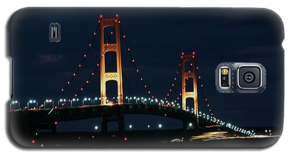 Freighter Passes Under Bridge At Night Galaxy S5 Case by Bill Woodstock