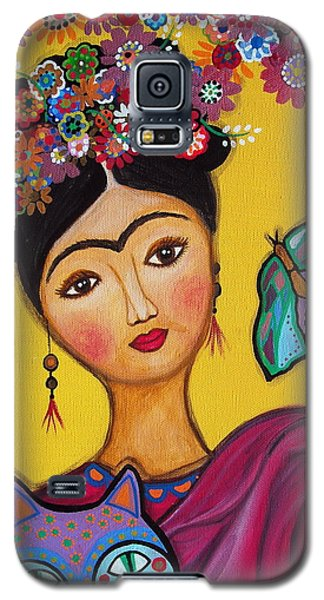 Frida Kahlo And Her Cat Galaxy S5 Case by Pristine Cartera Turkus