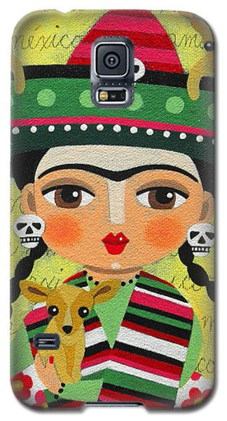 Galaxy S5 Case Featuring The Painting Frida Kahlo With Sombrero And Chihuahuas By LuLu Mypinkturtle