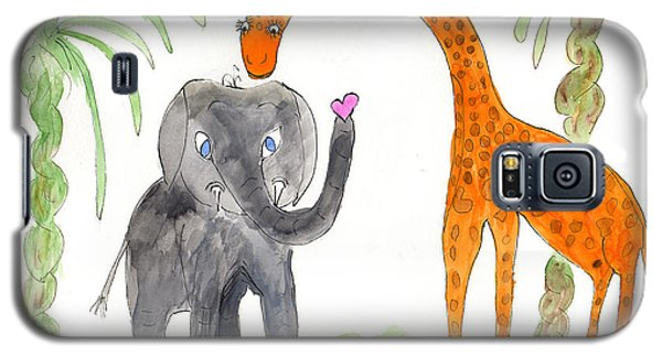 Galaxy S5 Case featuring the painting Friends - Elephoot And Elliot by Helen Holden-Gladsky
