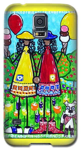Galaxy S5 Case featuring the painting Friends by Jackie Carpenter