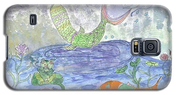 Galaxy S5 Case featuring the painting Froggy Delight And Fly Fishing by Helen Holden-Gladsky