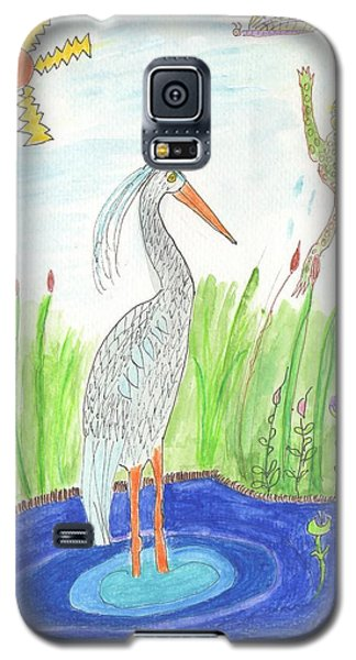 Galaxy S5 Case featuring the painting Froggy Fishing by Helen Holden-Gladsky