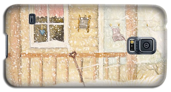 Front Porch In Snow With Clothesline/ Digital Watercolor Galaxy S5 Case